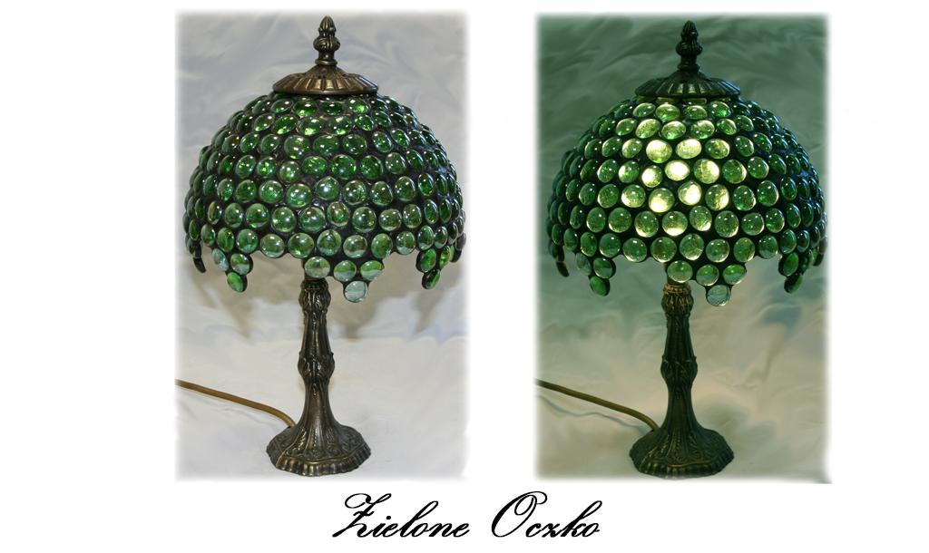 Lampa witrażowa - witraż Tiffany - Zieone Oczko